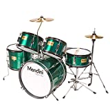 Mendini by Cecilio 16 inch 5-Piece Complete Kids/Junior Drum Set with Adjustable Throne, Cymbal, Pedal & Drumsticks, Metallic Green, MJDS-5-GN