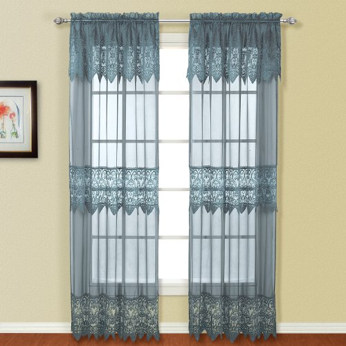 United Curtain Valerie Lace Sheer Window Curtain Panel, 52 by 63-Inch, Blue, Set of 2