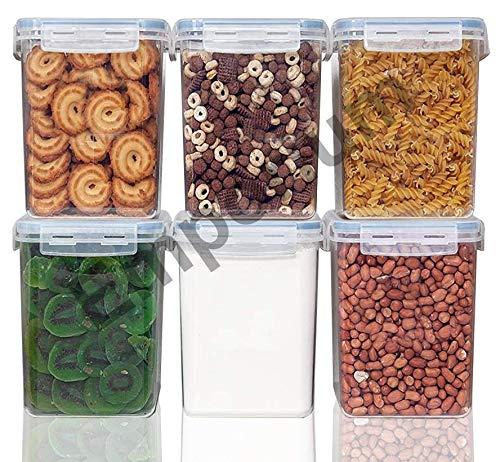 Emporium Air Tight Food Storage Containers Kitchen Containers for Storage Set Plastic Storage Box for Kitchen Airtight Containers Storage Jar Set for Kitchen Storage 900ml - 6 pc Set