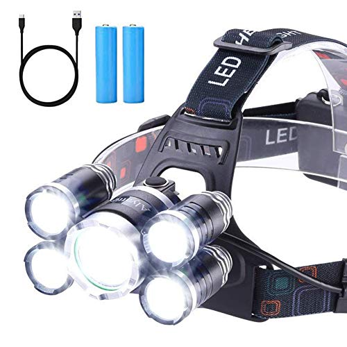 Headlamp 12000 Lumen Ultra Bright CREE LED Work Headlight Micro-USB Rechargeable, 4 Modes Head Lamp Waterproof Headlamps for Camping Hiking Hunting Hard Hat Workers