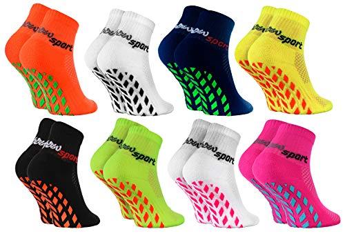 Rainbow Socks - Niñas Niños Calcetines Antideslizantes de Deporte - 8 Pares - Multicolor - Talla 24-29
