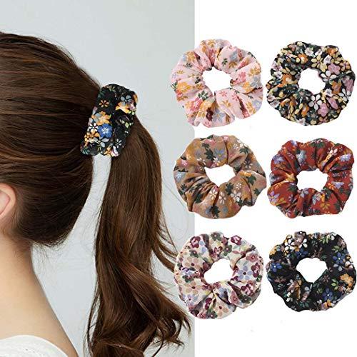 Genglass Élastiques chouchous Élastiques à cheveux en polyester Fleur Rose Cordes à cheveux pour femmes et filles Pack de 6