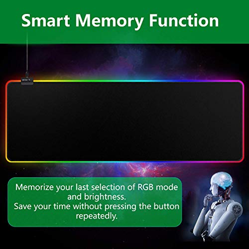 """RGB Mousepad, Large Extended Led Mousepad with 14 Lighting Modes, Non-Slip & Waterproof Rubber Base Computer Keyboard Pad Mat(31.5""""x11.8"""") Photo #8"""