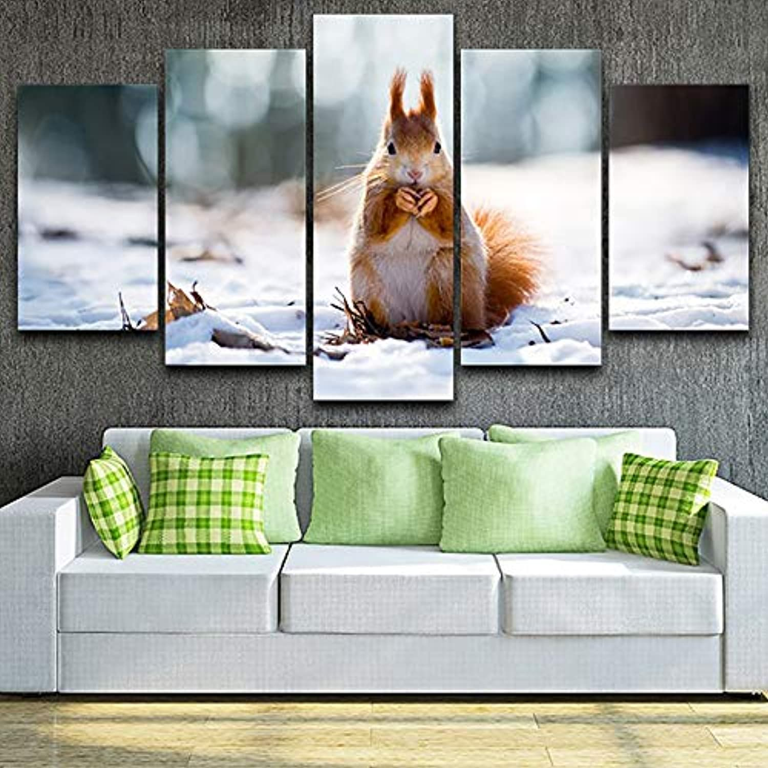 Home Living Room Wall Pictures HD Printed Canvas 5 Panel Cute Snow ...