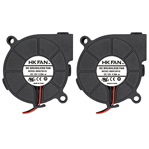 Security-01 2pack 50mm x 15mm 5015 12V Dual Ball Bearing DC Brushless Cooling Blower Fan with 2 Pin Terminal BB5015H12 UL TUV