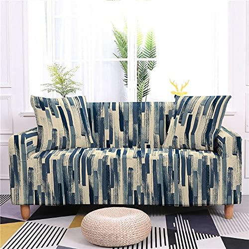 Funda Sofas 2 y 3 Plazas Rayas Azul Beige Fundas para Sofa con Diseño Universal,Cubre Sofa Ajustables,Fundas Sofa Elasticas,Funda de Sofa Chaise Longue,Protector Cubierta para Sofá