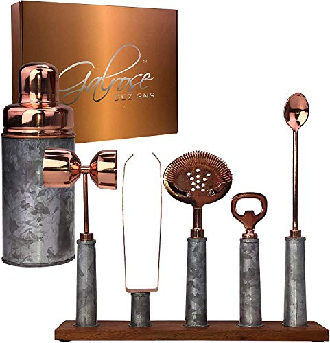 Galrose Dezigns Cocktail Shaker Set - 6 Bar Tools Bar Accessories Rustic Galvanized Iron Bar Set Rose Gold Trim - Stylish Mixology Bartender Kit with Stand. Unique 6th Iron Anniversary Gift for Couple