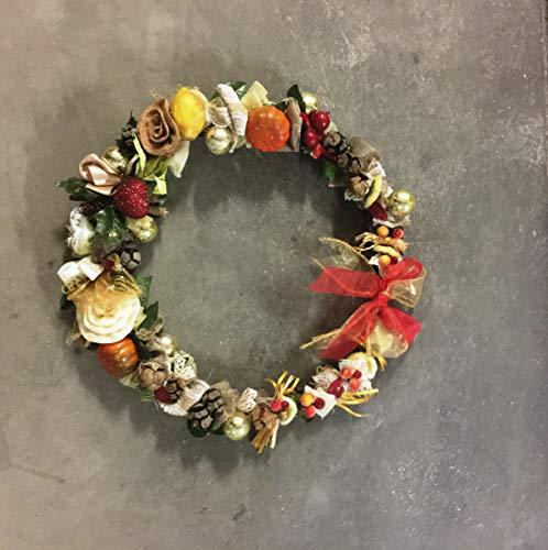 La Favola Incantata - Corona Ghirlanda FUORIPORTA Country Shabby Chic Vintage CM 45 Floreale Decorativo Artigianale Natale Natalizia Decorato A Mano Handmade in Italy