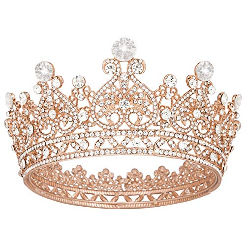 Vofler Crown Rose Gold Tiara for Women Queen-Round Full Size Crystal Rhinestone Hair Jewelry Decor Toddler for King Lady Girls Bridal Bride Princess Quinceanera Birthday Wedding Pageant Party