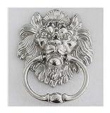 WENYOG Aldaba Puerta Estilo Vintage Lionhead Madera Aldaba De Bronce De Plata Lionhead Sofá Silla De Madera Y Jalar Anillos Gota Manijas Llamador Puerta (Color : 3)