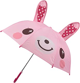 Winthome Kids Umbrella for Girls with 3D Ears & Safety Open and Close (Bunny)
