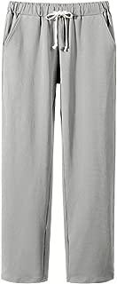 Women's Elastic Waist Comfort Fit Straight Leg Drawstring Cotton Pants Trouser