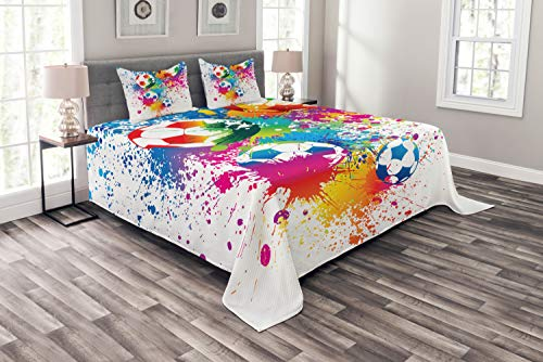 Ambesonne Soccer Bedspread, Colored Splashes All Over Soccer...