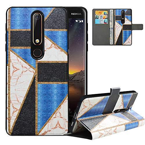 LFDZ Cover Nokia 6.1 2018 con [RFID Blocco],Custodia Nokia 6.1 2018 Cover con Staccabile Premium PU Pelle Portafoglio,Flip Wallet con Magnetico Case per Nokia 6.1 2018,Marble