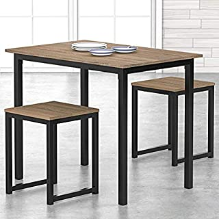 HOMOOI 3 Piece Dining Table Set with Stools Small Dining...