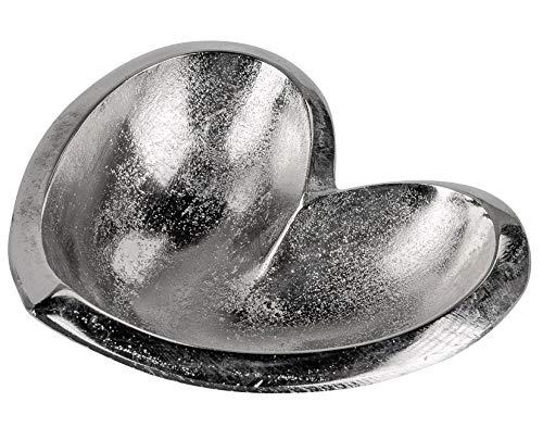 dekojohnson decoratieve schaal hartvorm aluminium hartvorm fruitschaal tafeldecoratie serveerschaal glanzend oppervlak 16 cm groot