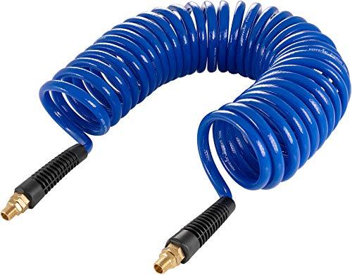 """Poppstar manguera compresor aire en espiral 10m, 8x12mm Ø (PU refuerzo de tela) con restrictor de curvatura y conexión giratoria, G 1/4"""" rosca exterior"""