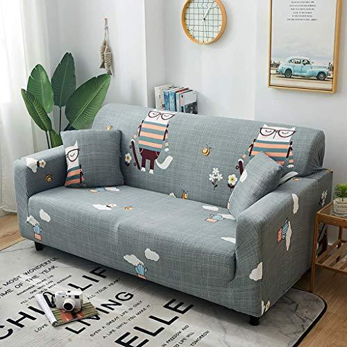 MBVX - Funda de sofá de algodón con estampado completo para 1, 2, 3 y 4 plazas, antideslizante, antipolvo, elástica, para sofá de 3 plazas