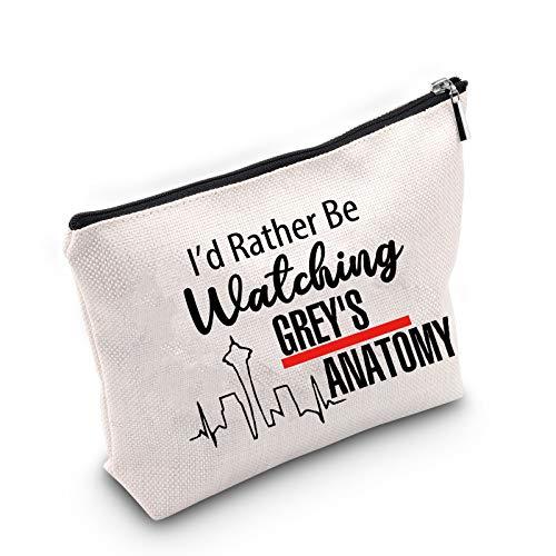 """TSOTMO Make-up-Tasche mit Aufschrift \""""I\'d Rather Be Watching Grey\'s Anatomy\"""", Geschenk für TV-Show, inspiriertes Geschenk"""
