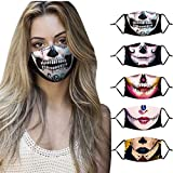 Loopardo Totenkopf Mundschutz Multifunktionstuch Halloween 3D Animal Print Maske Waschbar Atmungsaktive Stoffmaske Staubdicht Alltagsmaske Mund-Nasen Bedeckung Tiermotiv Bandana Halstuch