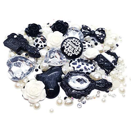 Price comparison product image BSI - 3D DIY Bling Bling Cell Phone Case Resin Flatback Kawaii Cabochons Decoration Kit / Set (Black & White)