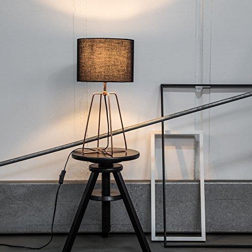 Moderne Tischleuchte mit Textilschirm und Gestell in Kupfer, 1x E27 max. 60W, Metall/Textil, schwarz/kupfer