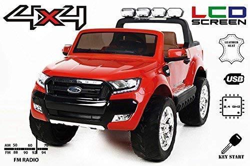 RIRICAR Ford Ranger Wildtrak 4X4 LCD Luxury, Elektro Kinderfahrzeug, LCD-Bildschirm, rot - 2.4Ghz, 2 x 12V, 4 X Motor, Fernbedienung, 2-Sitze in Leder, Soft Eva Räder, Bluetooth*