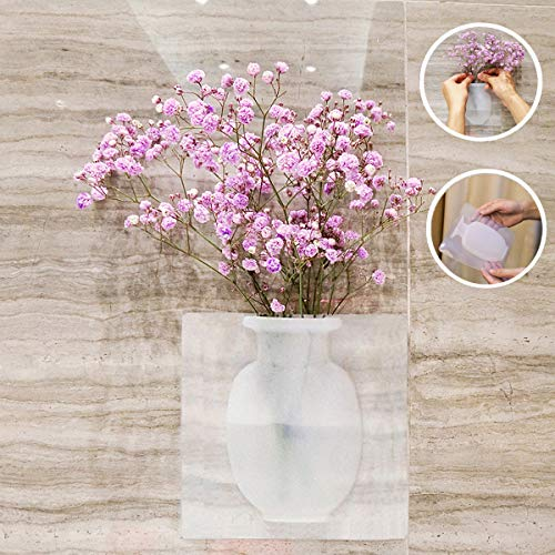 MIRUOC Silicone Sticky Vase Reusable Wall-Mounted Flower Holder Drilling-Free Hanging Decorative Rubber Vase for Home and Offices Wedding Decoration