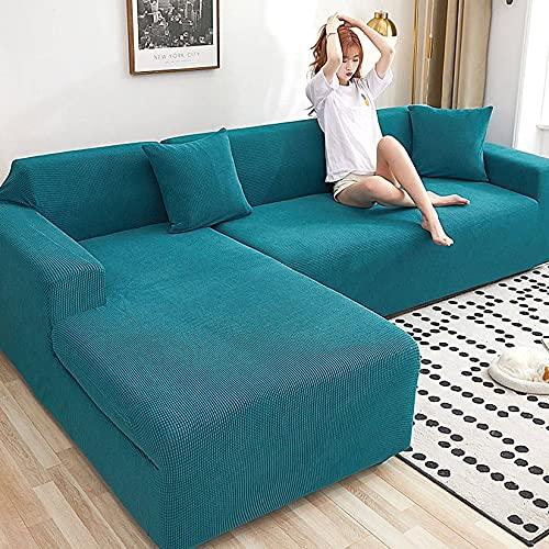 Unmbo L-Form Schonbezug Easy Stretch Fit Elastischer Stoff Couch Sofa Protector Schonbezug Waschbar,Sofabezug 5 Sitzer-4 sitzer(235-300cm)-Blauer See