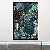 KWzEQ Cartel nórdico Monstruo Lienzo Pintura impresión Sala de Estar decoración del hogar Moderno Arte de la Pared Pintura al óleo,Pintura sin Marco,80x120cm