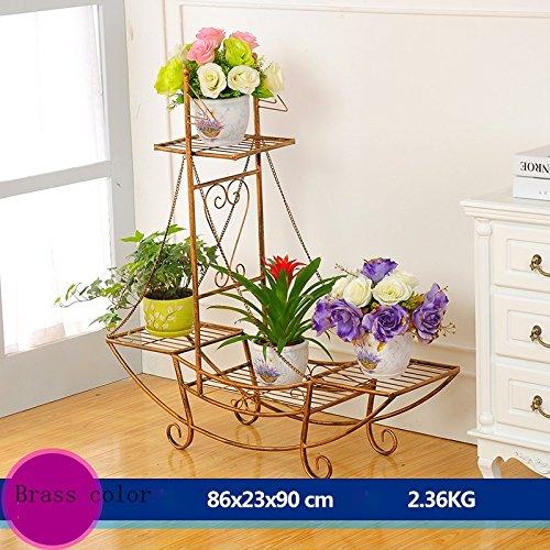 Porte-fleurs multifonctions Supports à fleurs Support à fleurs en fer Support à fleurs style plancher Modèle salon balcon intérieur et extérieur étagère à fleurs à plusieurs étages (4 couleurs en opti