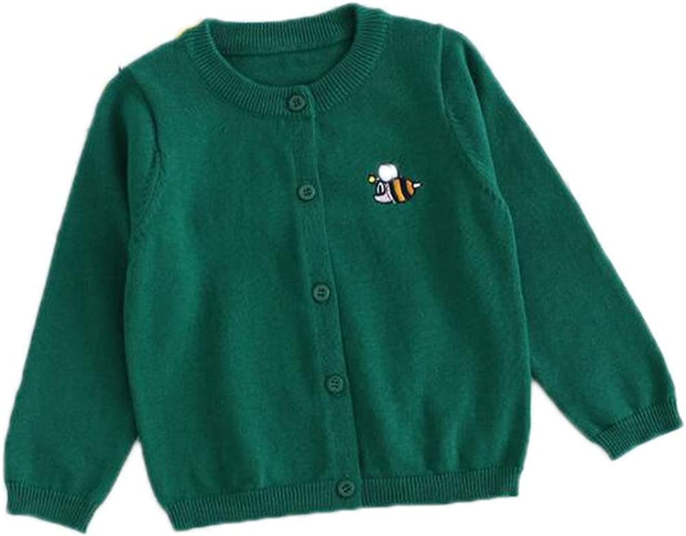 FEESON Toddler/Little Kid Cotton Embroidery Crew Neck Button up Cardigan Sweater
