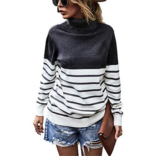 ZFQQ Autumn and Winter Women's top high-Neck Striped Sweater Black