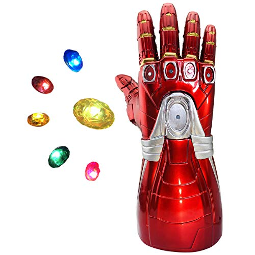 Iron man Infinity Gauntlet, Iron Man Glove LED with Removable Magnet Infinity Stones-3 Flash Modes Halloween Cosplay Props