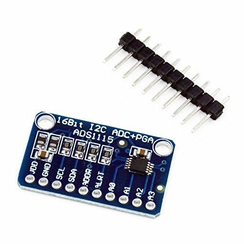 ARCELI ADS1115 16 Bit 16 Byte 4-Kanal I2C IIC Analog-Digital-ADC-PGA-Wandler mit programmierbarem Verstärkungsverstärker Hochpräziser ADC-Wandler Entwicklungsboard für Arduino Raspberry Pi