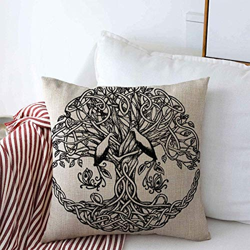 Throw Pillows Cover 18 x 18 Inch Life Macrame Celtic Tree Birds Style Paradise Graphic Nature Irish Spiral Tattoo Plant Knot Beautiful Cushion Case Cotton Linen for Sofa Bedroom Car Decor
