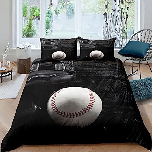 Castle Fairy Baseball Duvet Cover for Boys,Girls 3D Sports Theme Comforter Cover Full Size,Baseball Glove Bedding Set Kids Teen Room Decor Bed Cover,Black Plank Bedclothes with Zipper