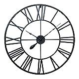 Antic by Casa Chic – Große Metall Wanduhr mit Quarz Uhrwerk – 100 cm Durchmesser – Römische Ziffern – Vintage Zeiger - Schwarz