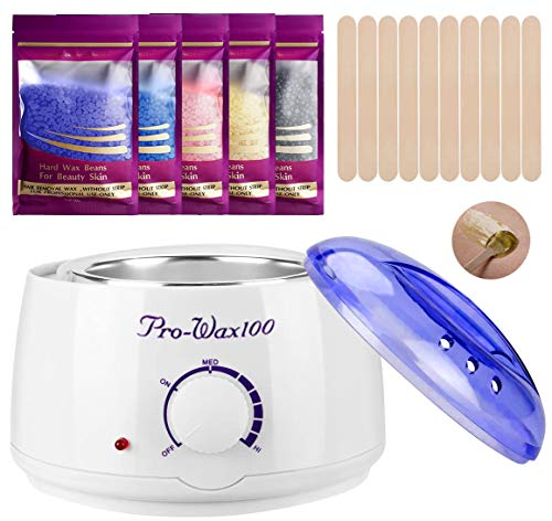 Wax Warmer Hair Removal Home Waxing Kit with 5 Flavors Stripless Hard Wax Beans(14.1oz)20 Wax...