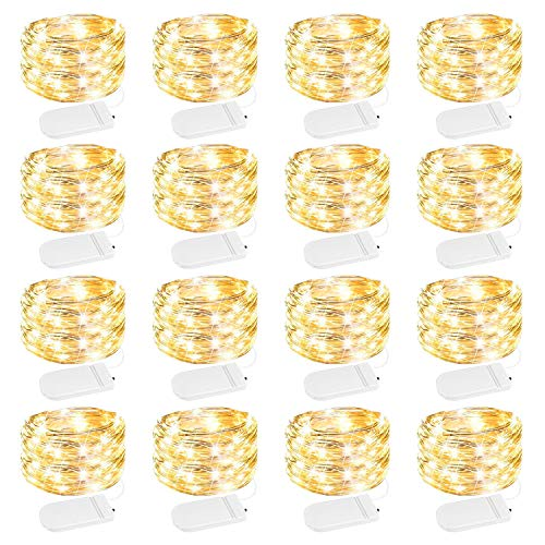 16 Pack Led Fairy Lights Battery Operated String Lights Waterproof Silver Wire, 7Ft 20 LED Firefly Starry Moon Lights for DIY Wedding Party Bedroom Patio Christmas (Warm White)