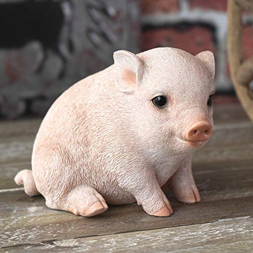 SUMMIT COLLECTION Farmhouse Decor Barnyard Designs Adorable Pig Figurines Tall Kitchen Dining Room Realistic Looking Pig Statue (Small 5 inch Tall)