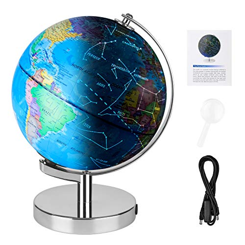 """Wizdar 8"""" LED Illuminated Globe for Kids, 3 in 1 Interactive Educational World Globes with Stand, Colorful Earth Globe with Political Map, Constellation Globe STEM Toy, Desk Light Up Globe Lamp Décor"""