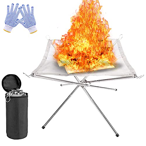 Portable Fire Pit Outdoor Fireplace with Carrying Bag Rollable Stainless Steel Charcoal Mesh and Folding Stands Picnic Bonfire Firepits Wood Burning for Travel Camping and Backyard (Silber)