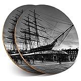 Posavasos redondos de vinilo de Destination Ltd (juego de 2) BW – Cutty Sark velero barco bebida/protección de mesa para cualquier tipo de mesa #39029