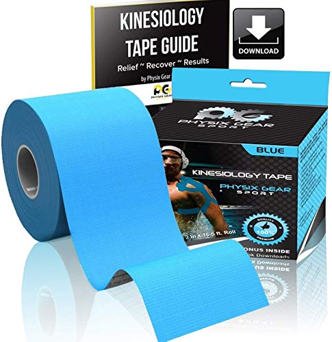 Cinta para kinesiología (2 unidades, o 1 unidades) PHYSIX Gear Sport, 5 cm x 5 m rollo, mejor impermeable soporte muscular adhesivo, incluye cinta 82pg paso a paso guía electrónica