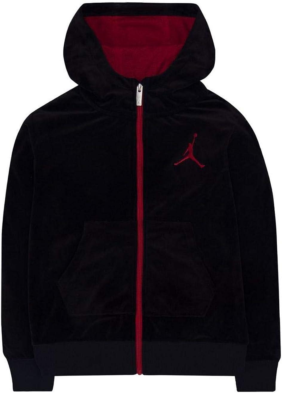 Nike Air Jordan Boys Velour Zipper Hoodie (Black, Large)