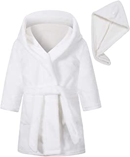 Umeyda Girl's Soft Flannel Bathrobes with Hair Dry Hat, 2-12 Years