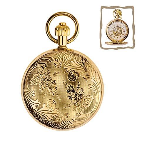 WFENG Cobre Mecánica Reloj de Bolsillo, Retro Regalos de Hombres Y Mujeres Flip Mesa Antigua/dorado / 4.8cm