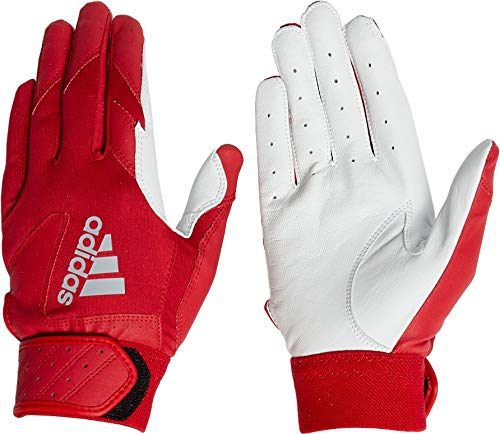 adidas Adult Trilogy Batting Gloves 2019 (Red, Small)