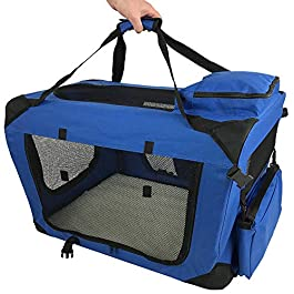 RayGar Pet Carrier Soft Crate Portable Foldable Fabric – Blue